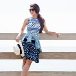 what to wear to the beach - hat and printed dress - Visit Traveller Location
