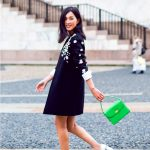 white block heeled pumps with green bag and dress