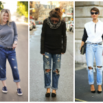sweatercollage. Sweater tops are a great way to wear boyfriend jeans