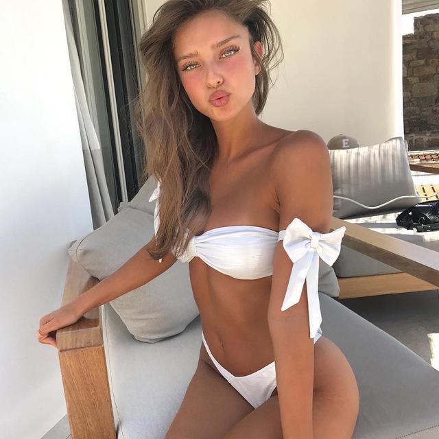 Cute Bow Tie Bikini 2018 Swimsuit Women White Bathing Suit Sexy Bandeau  Bikini Set Low Waist