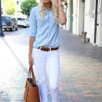 Summer Outfit Idea: White Jeans - chambray shirt tucked into belted  low-rise white jeans, worn with brown sandals + a lace embellished fedora