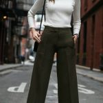 wide leg cropped olive pants, ankle length culottes, classic ivory ribbed  light sweater with button shoulder detail, tie ankle strap heeled sandals,