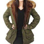 4HOW Womens Parka Coat Winter Jacket Hooded Jacket Warm Parkas Outdoor Army  Green Size 6