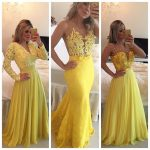 2017 New Arrival Formal Dresses Yellow Three Different Styles A Line Lace  Appliques Peatls Plus Size Chiffon Long Evening Dress-in Evening Dresses  from