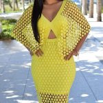 Yellow Lace Overlay V Neck Cape Style Midi Dress