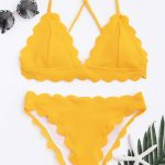 Scalloped Bikini Set - Yellow S