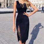 Женщины сексуальная кружева спагетти ремень платье кружева Bodycon Черное миди платье – купить по низким ценам в интернет-магазине