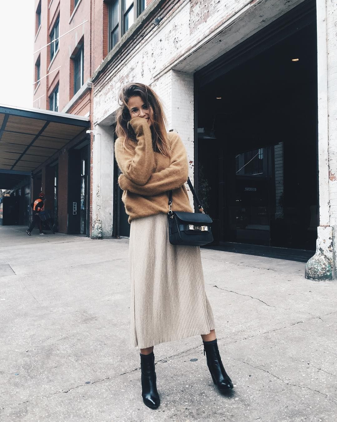 """""""Midi Skirt, Sweater & Booties x first day in NY  #collageontheroad #nyc"""""""