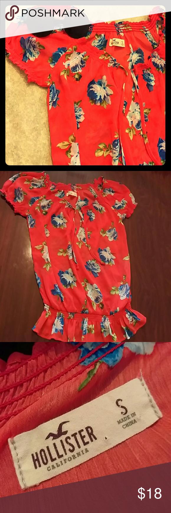 ↘⬇PRiCE DROP⬇↙Beautiful sheer Hollister blouse Red/orange women's sheer …