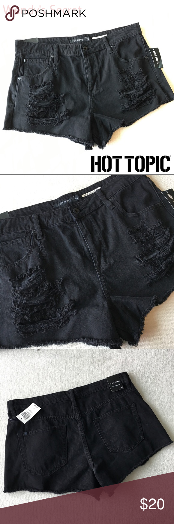 🆕 Hot Topic Distressed High Waist Black Shorts New with tags Hot Topic Distre…