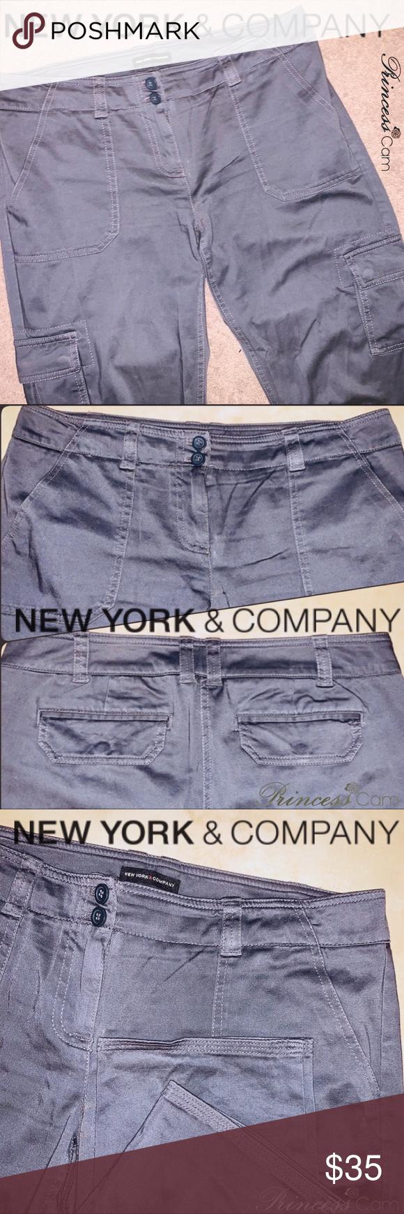 🆕NY & CO Women Slate Gray Cargo Pants Sz 6 Preloved worn a few times! Super c…