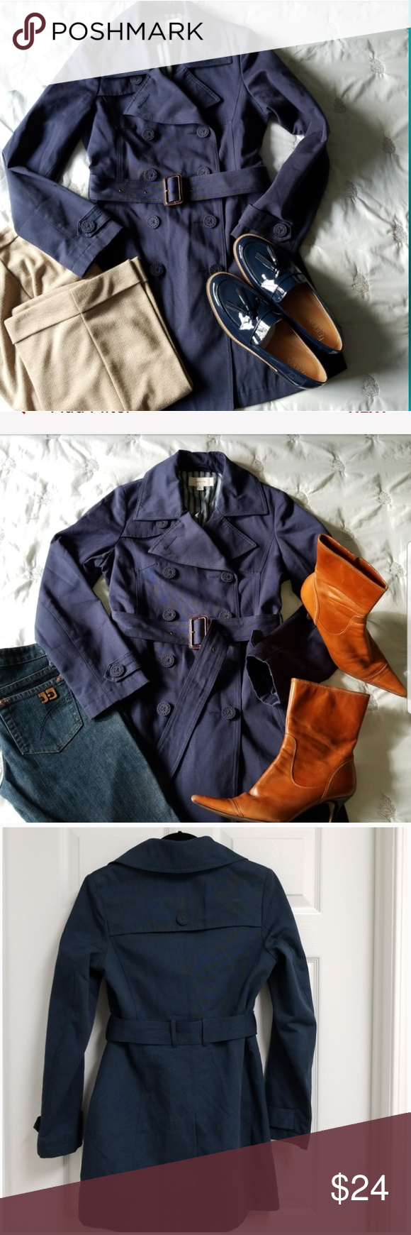 🌈 Navy Double Breasted Trench Coat Stylish trench coat that's very versatile….