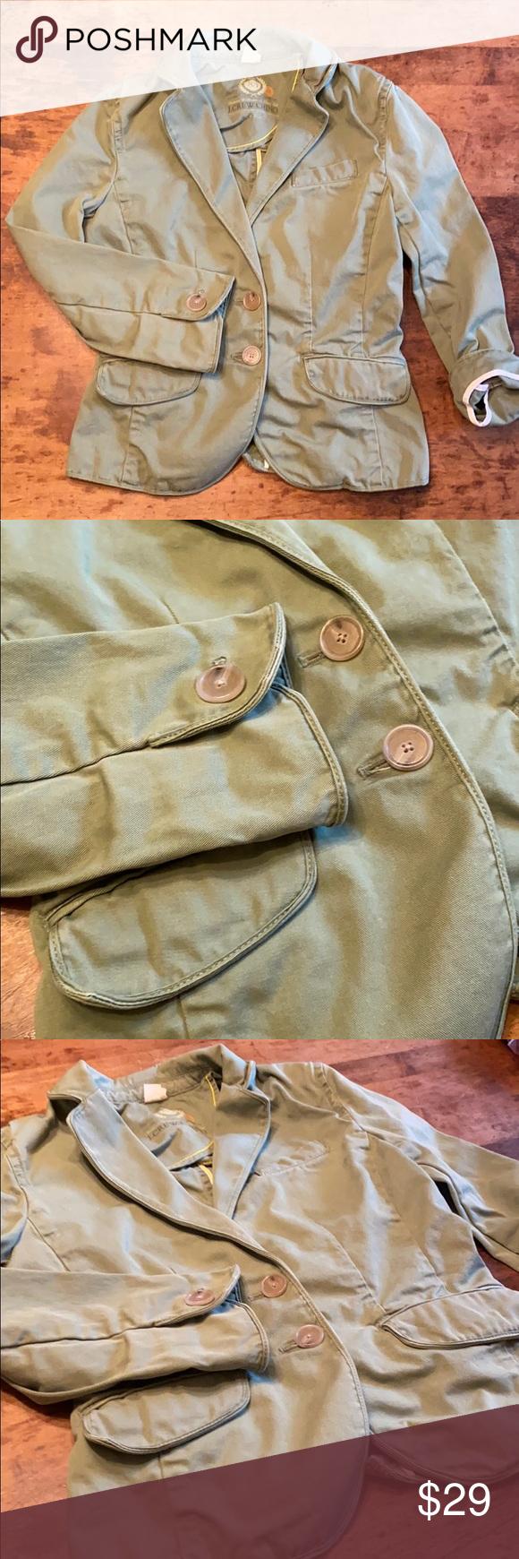 🍋J CREW CHINO blazer jacket Sz xs J.crew  Broken in chino  Cotton blazer /jac…