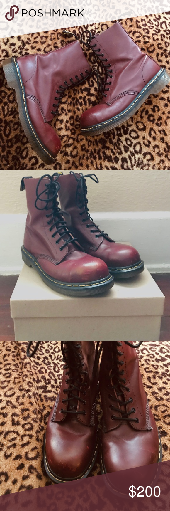 🍒 RARE! Vintage 90s Dr Martens combat boots Wonderful rare 90's cherry red le…