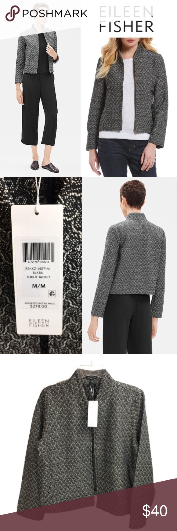🎁🎄 NWT Eileen Fisher Flight Jacket Size M New with Tags Eileen Fisher Recy…