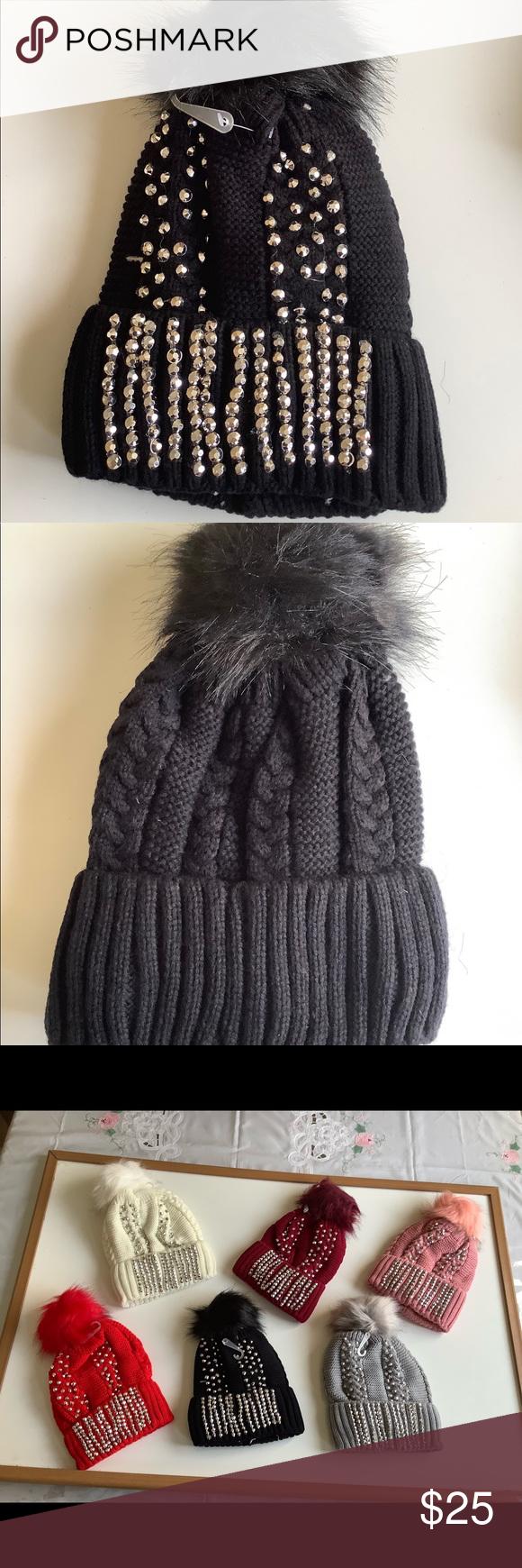 🎁 Black Pom Pom  Rhinestone winter beanie Brand new with tags . Embellished w…