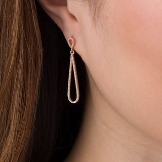 0.25 CT. T.W. Diamond Elongated Pear-Shaped Drop Earrings in 10K Rose Gold|Peoples Jewellers