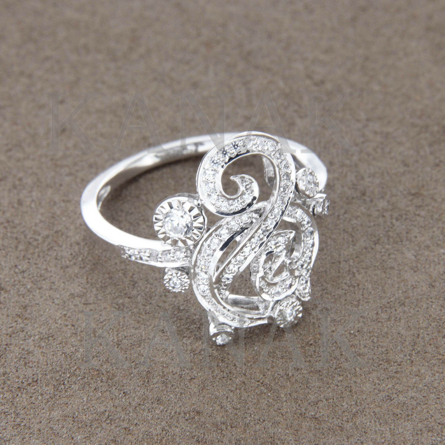 0.34 ct Round Cut Natural Diamond Womens Fashion Ring in 14K Solid White Gold