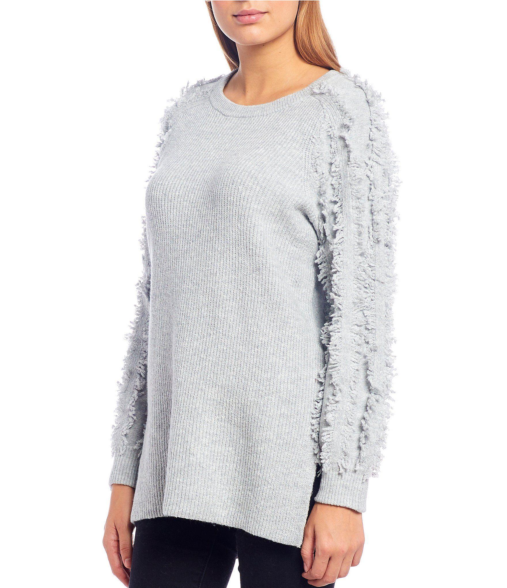 1. STATE Fringe Side Slit Tunic Sweater – Silver Heather M