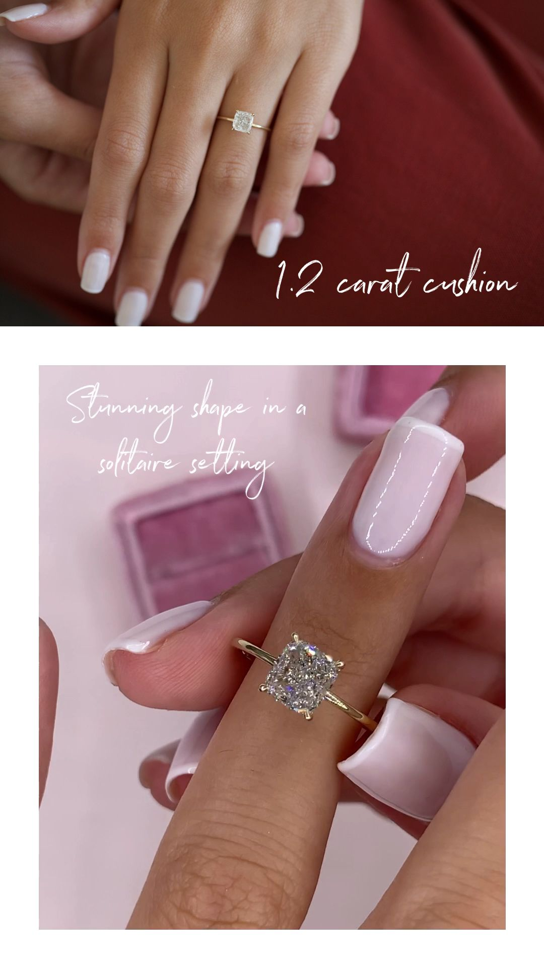 1.2 carat cushion engagement ring