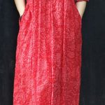 100% v neck tie waist cotton dresses plus size Wardrobes red print Maxi Dresses ...