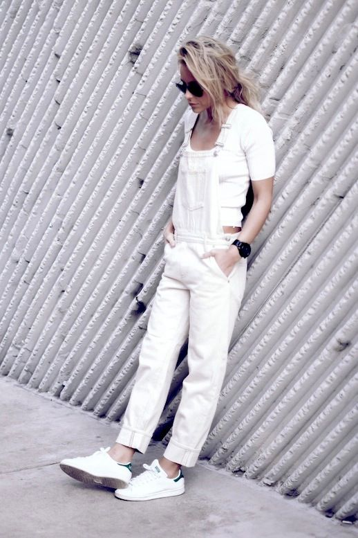 12 Le Fashion Blog 17 Ways To Wear White Overalls Cropped White Tee Adidas Sneak…