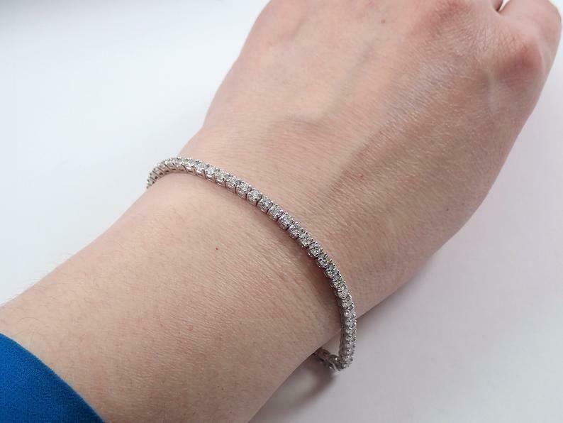 14K White Gold Over 5.12 Ct Diamond Tennis Bracelet Prong Set Line Bracelets  #G…