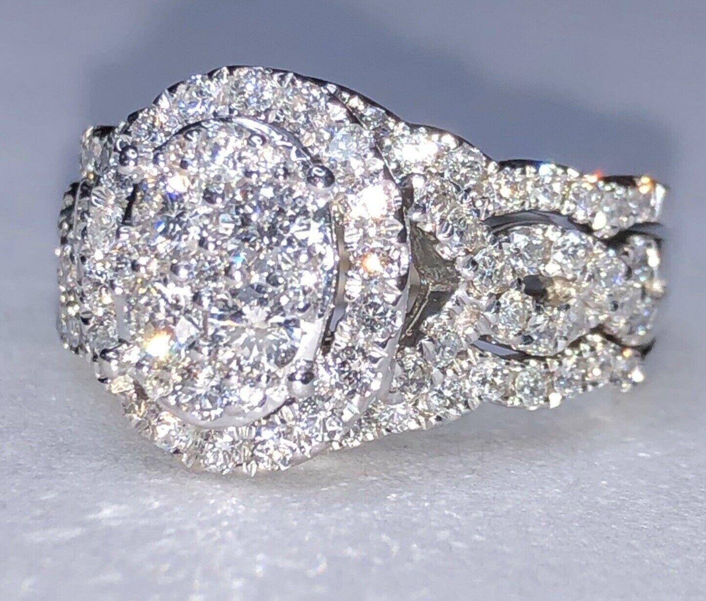 14k White Gold 1.42CT Diamond Engagement Wedding Ring Set Appraisal $2150.00 KAY