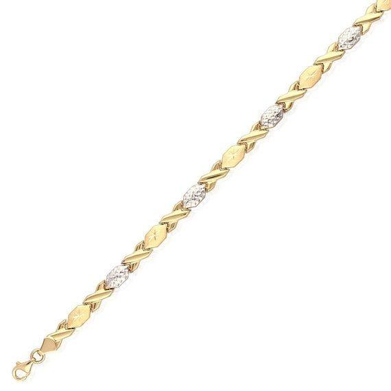 14k Yellow Gold White Gold 6mm Anklet Xo Hugs  and  Kisses Ankle Bracelet 10″