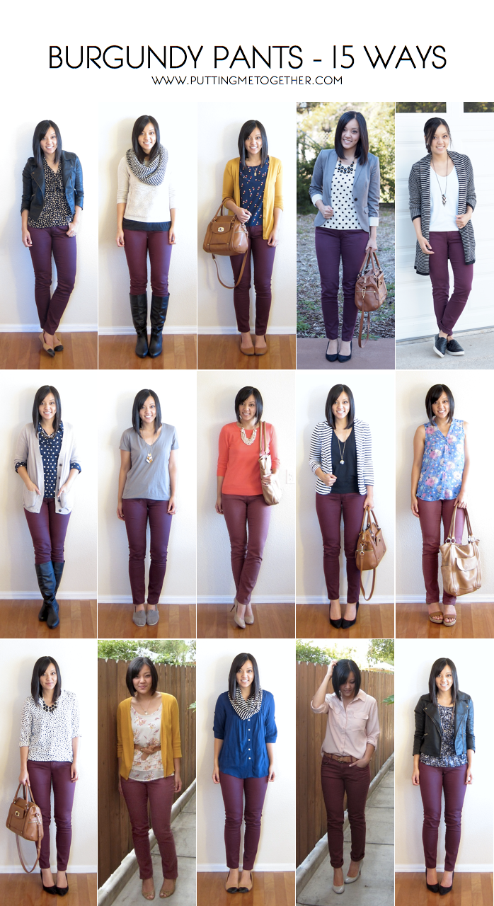 15 Ways to Wear Burgundy or Maroon Pants