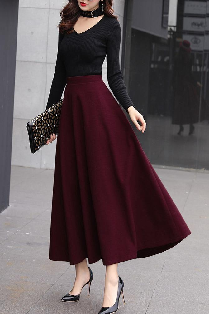 Classical flared skirt for women j001