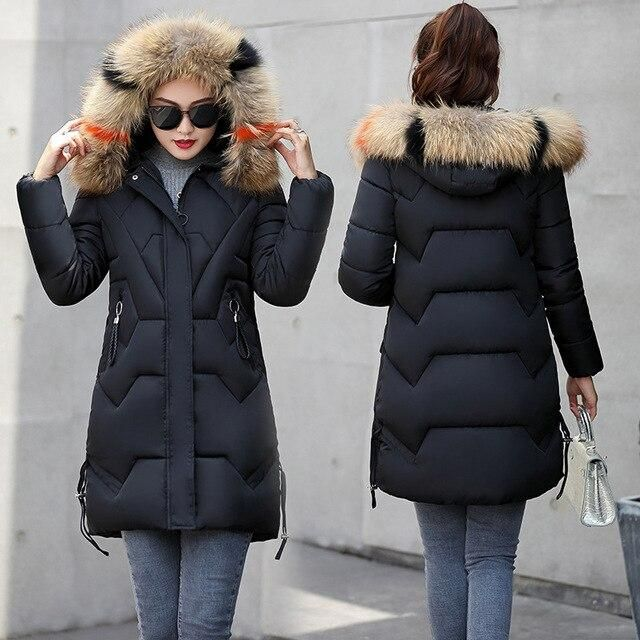 womens winter jackets and coats 2019 Parkas for women 4 Colors Wadded Jackets warm Outwear With a Hood Large Faux Fur Collar – Black 5XL