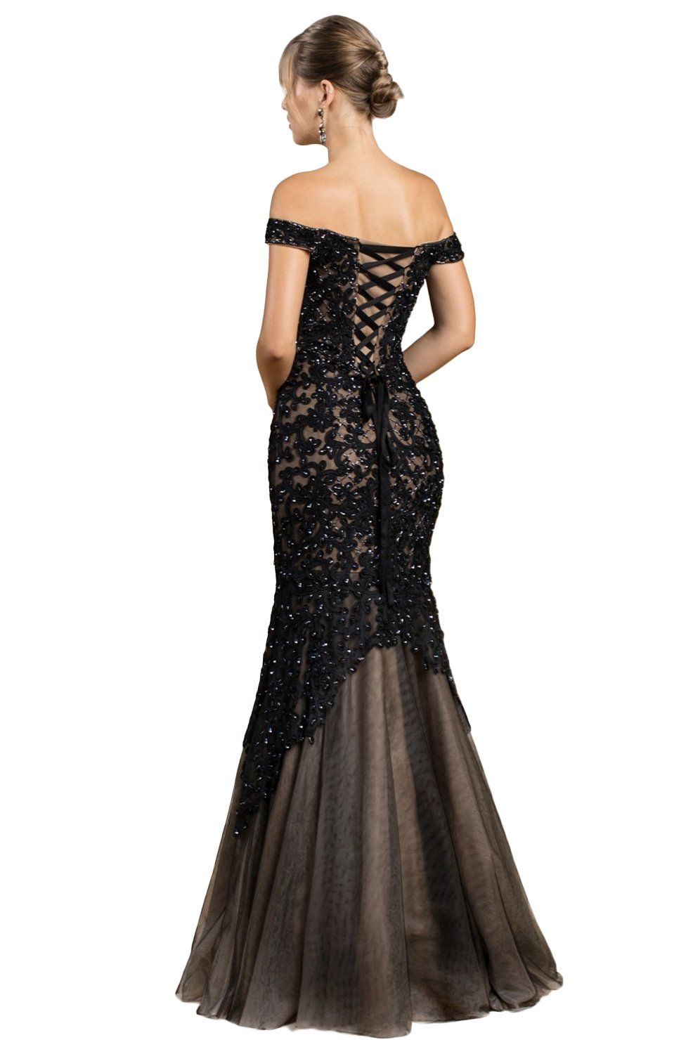 Cinderella Divine – A0401 Off Shoulder Lace Overlay Tulle Mermaid Gown