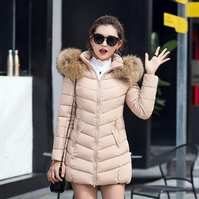 womens winter jackets and coats 2019 Parkas for women 4 Colors Wadded Jackets warm Outwear With a Hood Large Faux Fur Collar – Beige 4XL