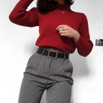 New burgundy turtleneck women pullover warm sweater jumper autumn fall winter