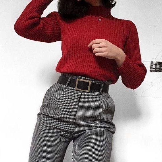 New burgundy turtleneck women pullover warm sweater jumper autumn fall winter