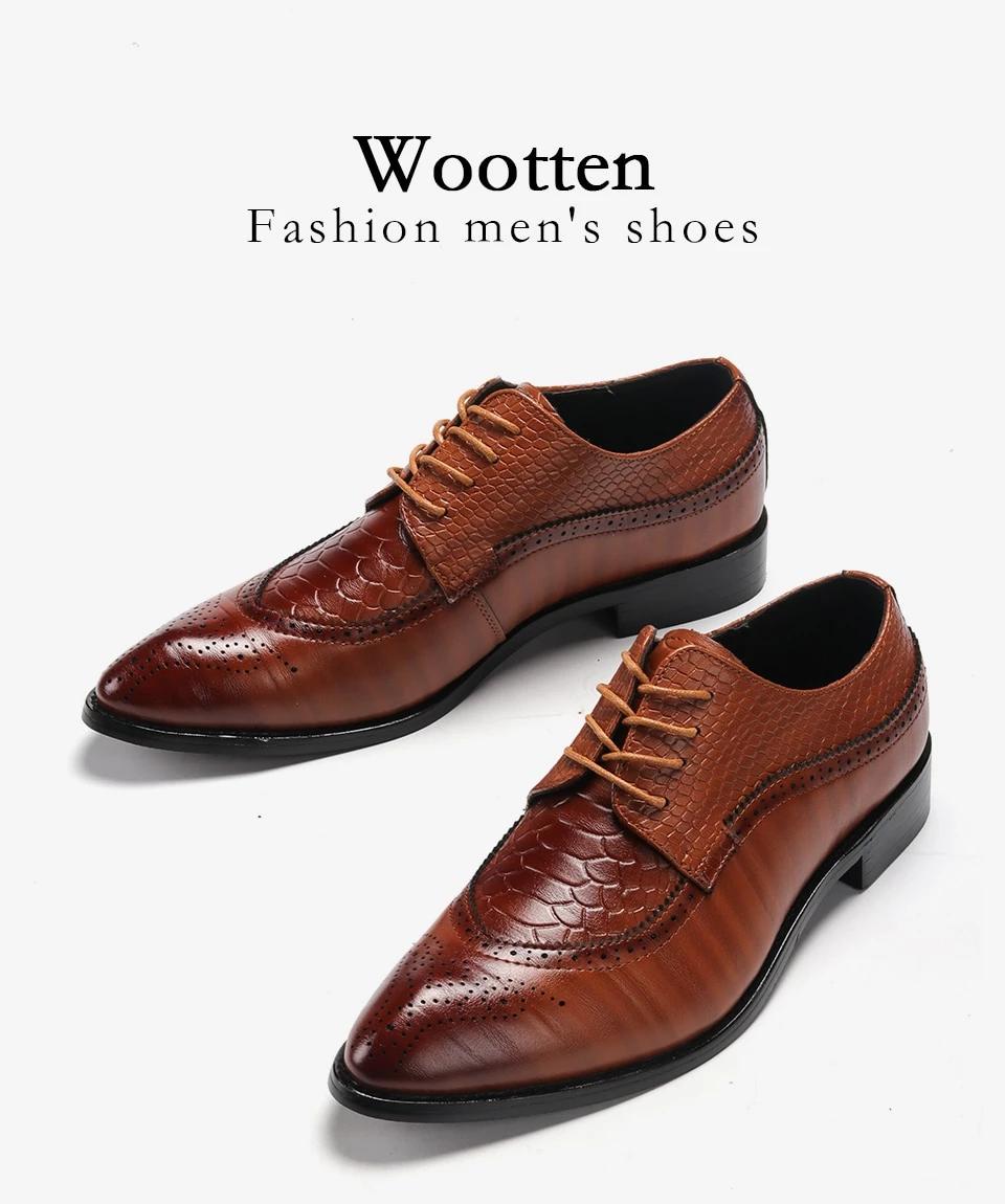 Men dress shoes luxury crocodile pattern pointed toe elegant classic fashion oxford shoes