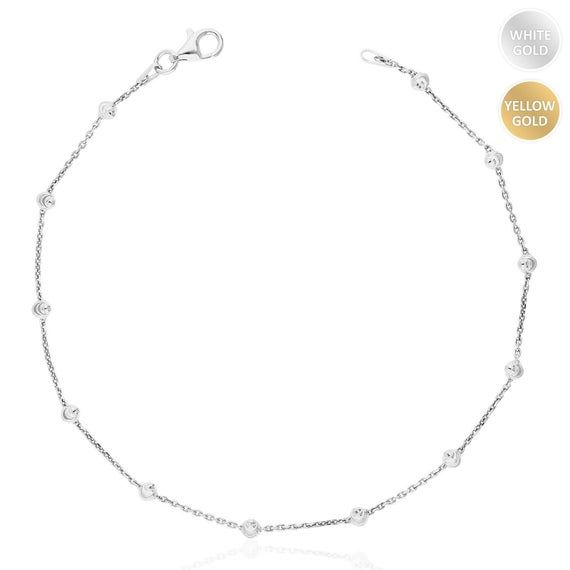 Yellow White Gold Over Sterling Silver Moon Cut Bead Station Chain Anklet