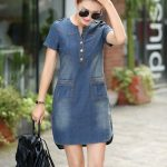 Summer Denim Dress Vintage Turn-down Collar Short Sleeve Pockets Jeans Dresses L...