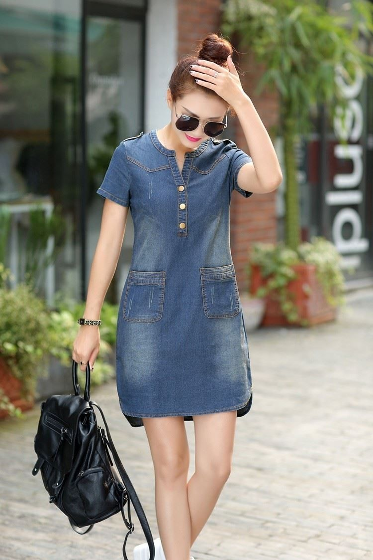 Summer Denim Dress Vintage Turn-down Collar Short Sleeve Pockets Jeans Dresses L…