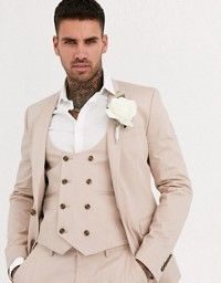 DESIGN wedding super skinny suit jacket in dusky blue
