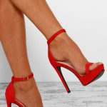Vacay Fever Red Barely There Platform Heels - 7