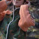 Eco / boho chic style Plus size warm merino wool felt coat with hand knitted raglan sleeves and pockets - OOAK - ready to ship