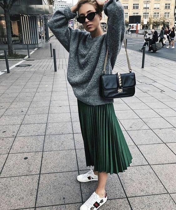 New black faux leather high waist pleated midi length skirt autumn fall winter