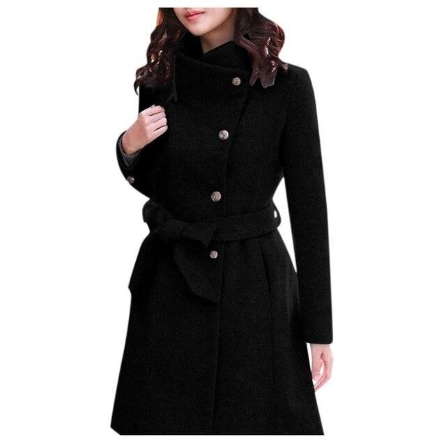 Womens Winter Lapel Wool Coat Trench Jacket Long Sleeve Overcoat Outwear Dropshipping size Leisure Work clothes  free shipping – Khaki S China