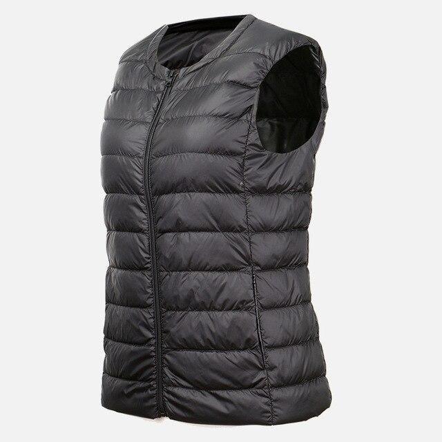 Autumn White Duck Down Women's Short Vest Jacket Sleeveless Portable Office Lady Women Vests Coat 2019 Winter Waistcoat Female – Purple 7XL