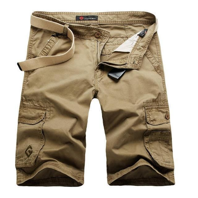 Men Cargo Shorts / Casual Fashion Pockets  Army Green Shorts khaki / 29