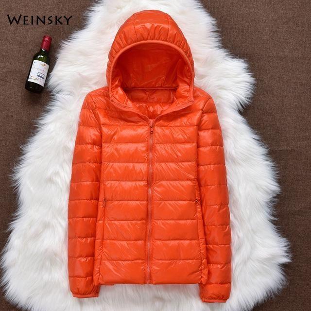 Winter Women Ultralight Thin Down Jacket White Duck Down Hooded Jackets Long Sleeve Warm Coat Parka Female Portable Outwear – Pink 7XL
