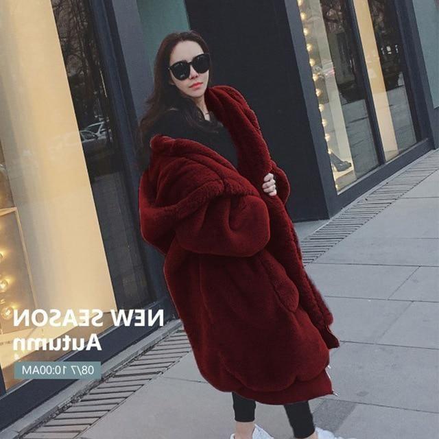 Oversized Winter Faux Fur Coat Women Parka Long Warm Faux Fur Jacket Coats Hoodies Loose Winter Coat Outwear casaco feminino – Gray XXXL