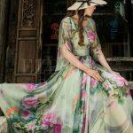 Short Sleeve Floral Print Chiffon Maxi Dress